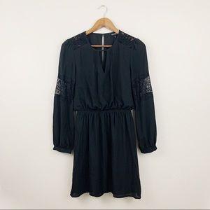 Express Black Long Sleeve Lace Keyhole Dress